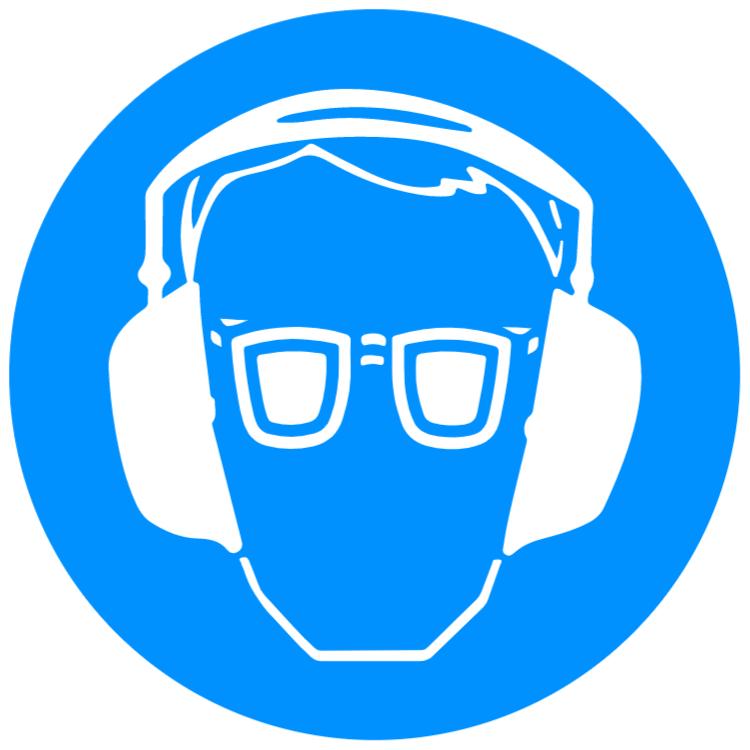 använda ögon- och hörselskydd