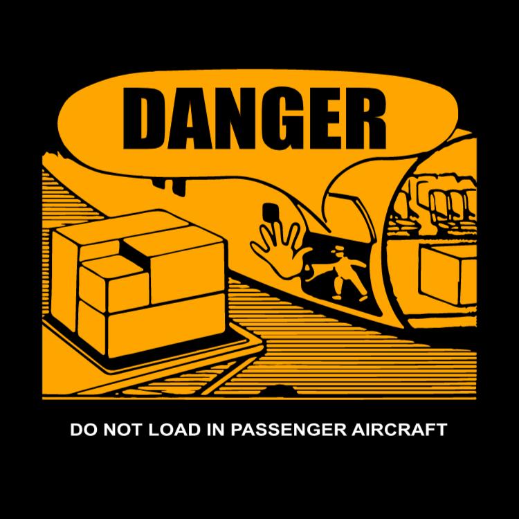 Fara inte ladda i passagerarflygplan (engelska text)
