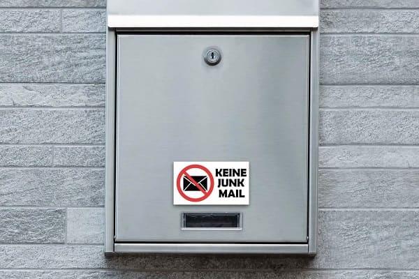 Keine Werbe-Mail-Schilder