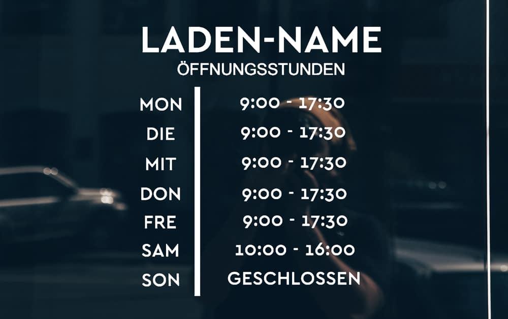 Öffnungszeiten-Schilder