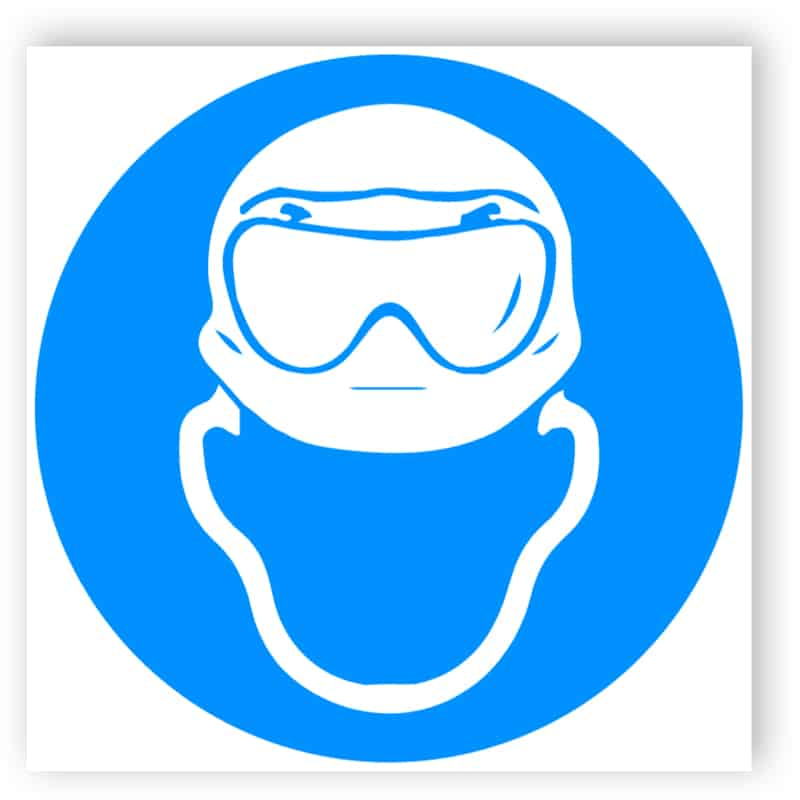 Kopfschutz und Säureschutz-Vollsichtbrille benutzen