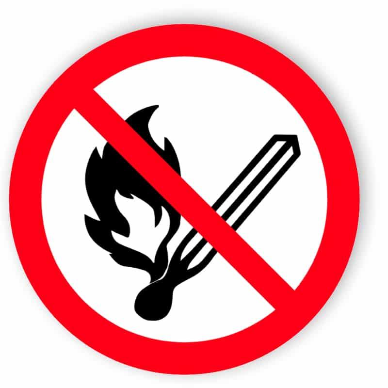 Feuer, offenes Licht und Rauchen verboten