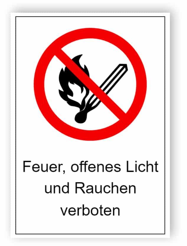 Feuer, offenes Licht und Rauchen verboten 1
