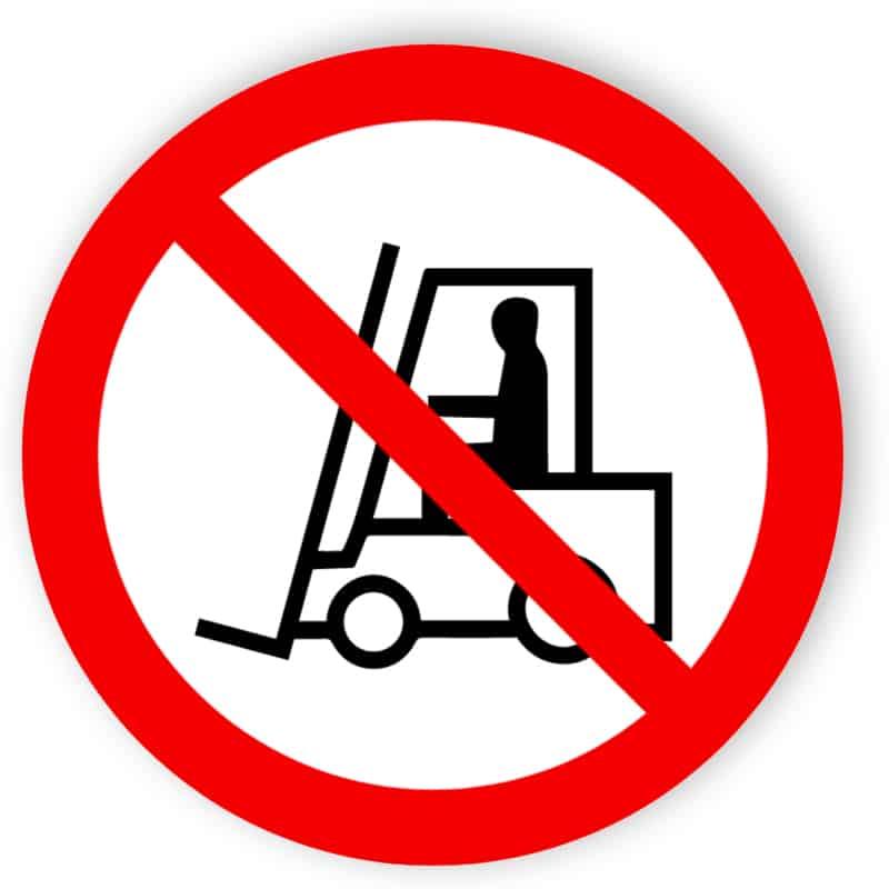 Für Flurförderzeuge verboten