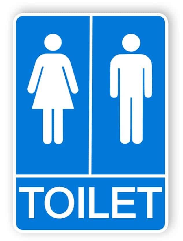 Blaue Toiletten Zeichen