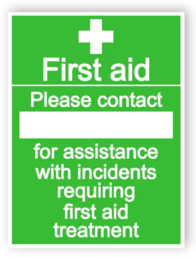 Erste-Hilfe - bitte kontaktieren Sie Zeichen