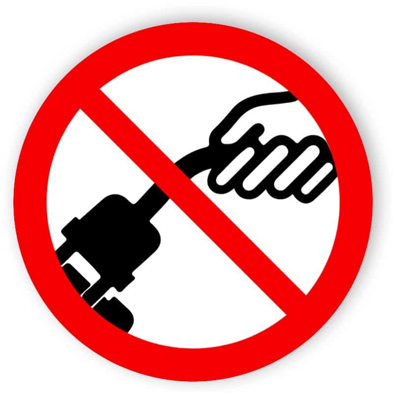 Am Kabel ziehen verboten