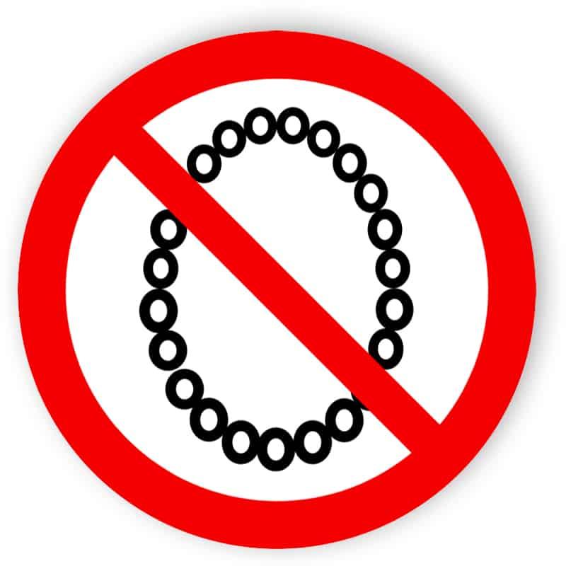 Bedienung mit Halskette verboten