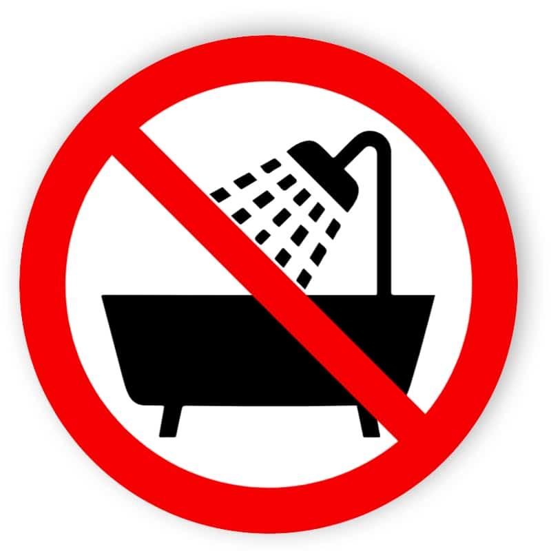 Verbot, dieses Gerät in der Badewanne