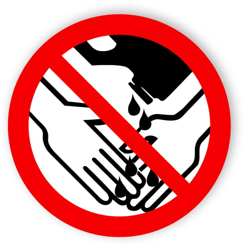 Händewaschen mit Losungsmitteln verboten
