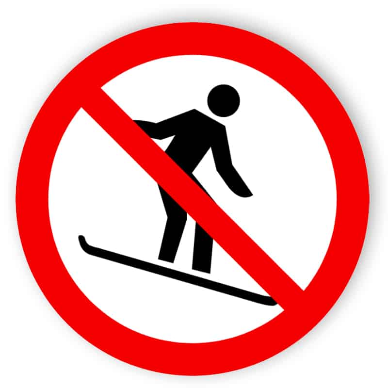 Snowboarding verboten