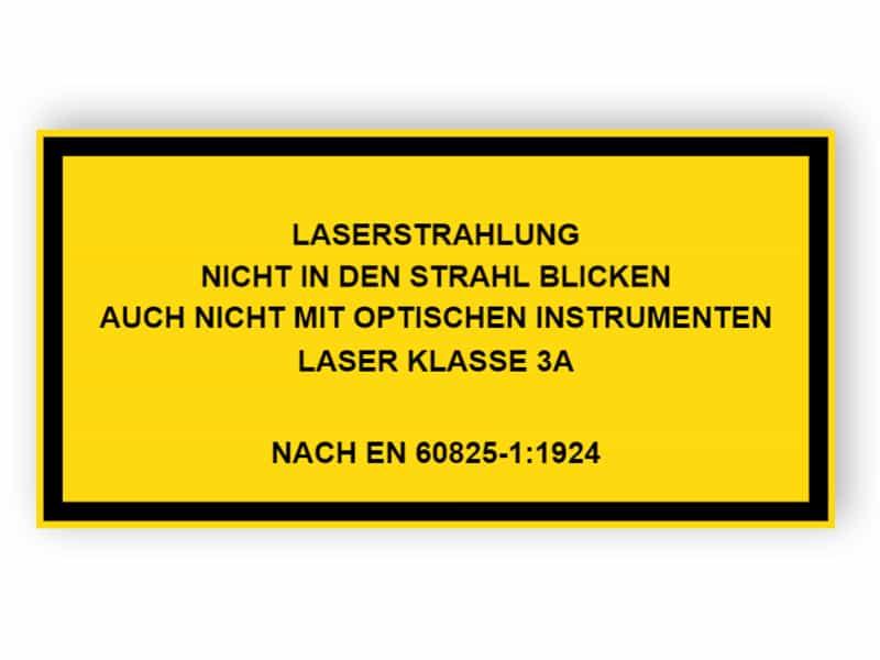 Laserstrahlung Nicht in den Strahl blicken