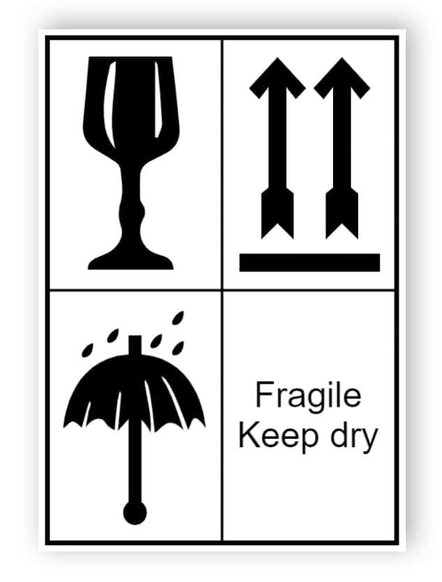 Fragile, Keep dry (englischer Text)