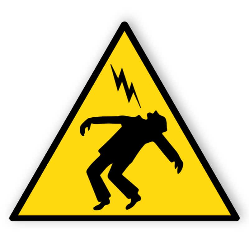 Warnung vor überschlagender Spannung