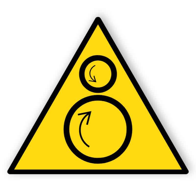 Warnung vor Einzugsgefahr bei laufender Maschine