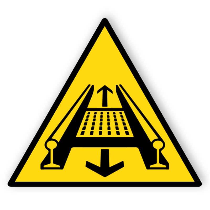 Warnung vor Gefahren durch eine Förderanlage im Gleis