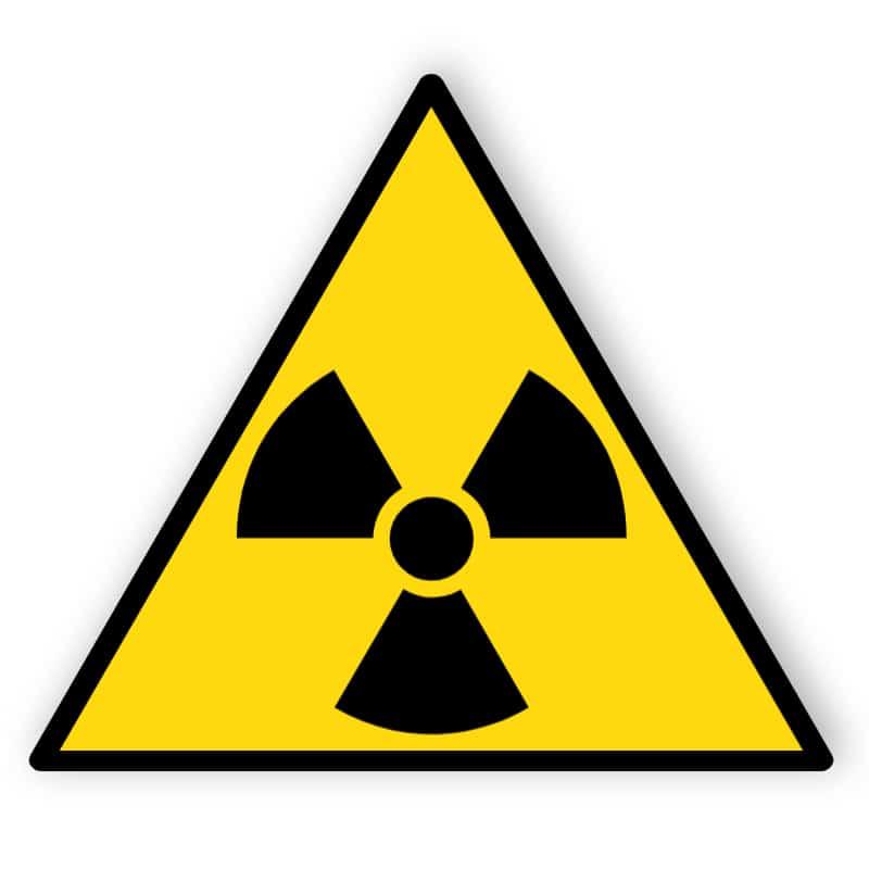 Warnung vor radioaktiven Stoffen oder ionisirenden Strahlen