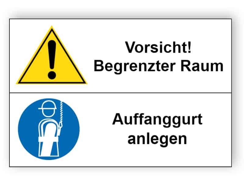 Vorsicht! Begrenzter Raum / Auffanggurt anlegen