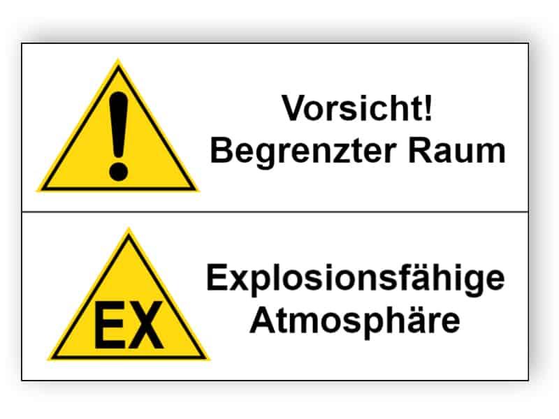 Vorsicht! Begrenzter Raum / Explosionsfähige Atmosphäre