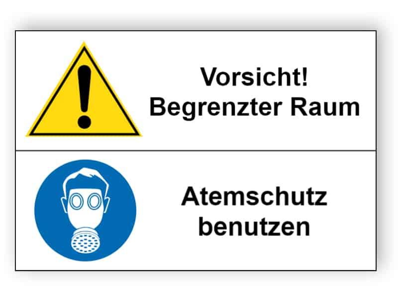 Vorsicht! Begrenzter Raum / Atemschutz benutzen