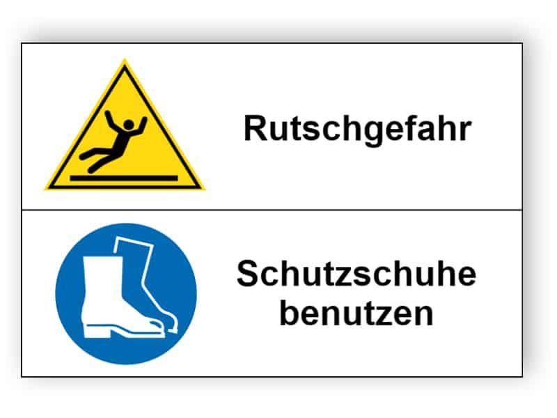 Rutschgefahr / Schutzschuhe benutzen