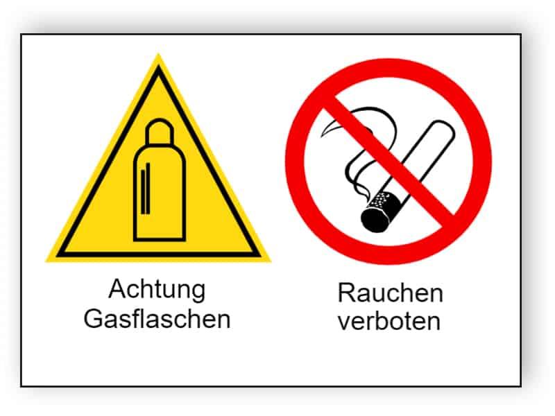 Achtung Gasflaschen / Rauchen verboten