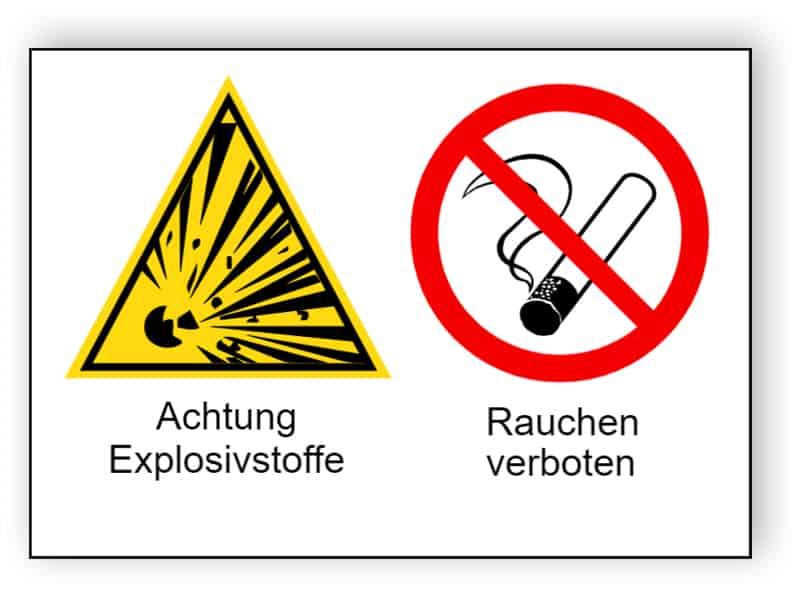Achtung Explosivstoffe / Rauchen verboten