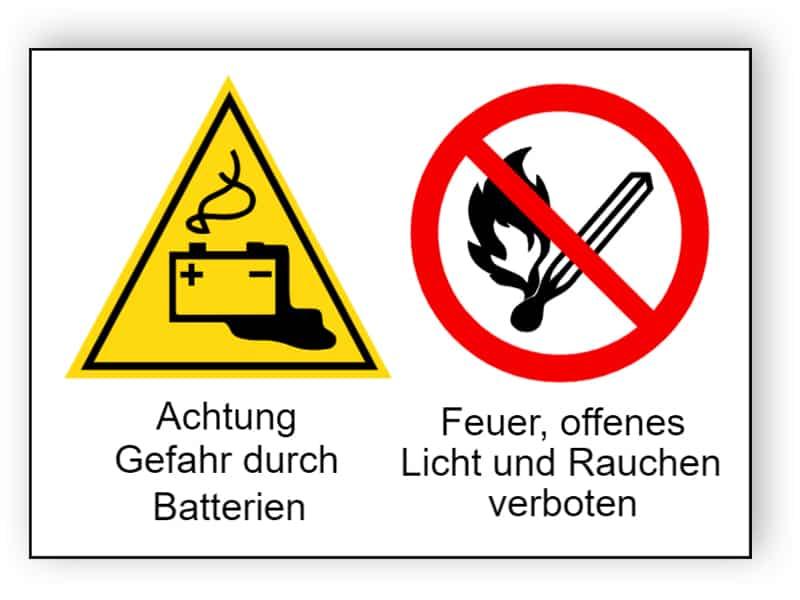 Achtung Gefahr durch Batterien