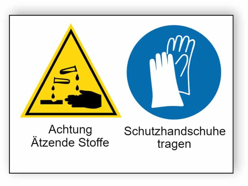 Achtung Ätzende Stoffe / Schutzhandschuhe tragen