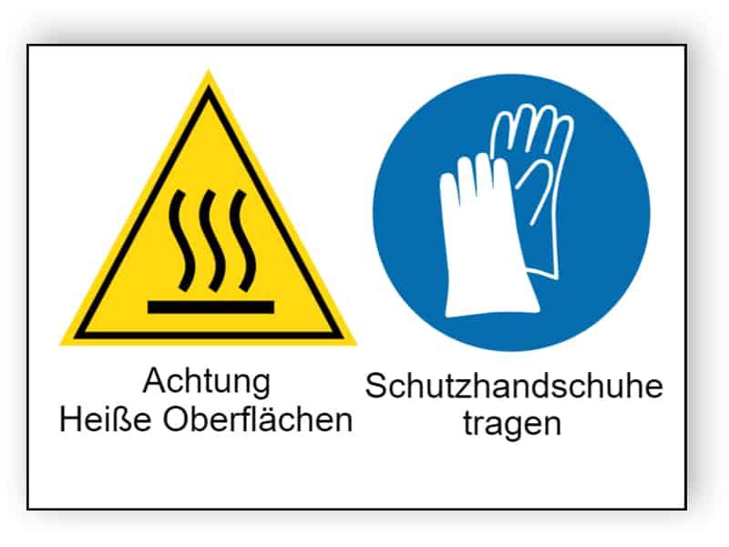 Achtung Heiße Oberflächen / Schutzhandschuhe tragen
