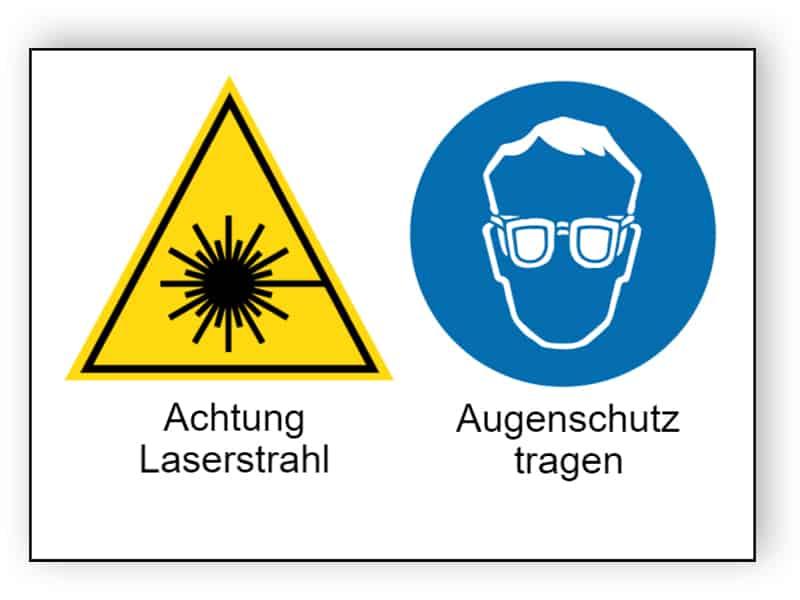 Achtung Laserstrahl / Augenschutz tragen