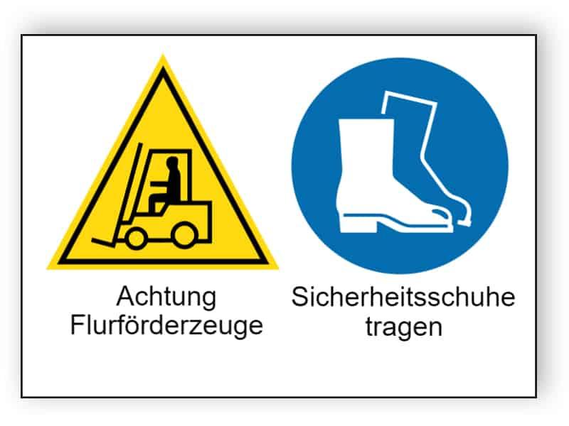 Achtung Flurförderzeuge / Sicherheitsschuhe tragen