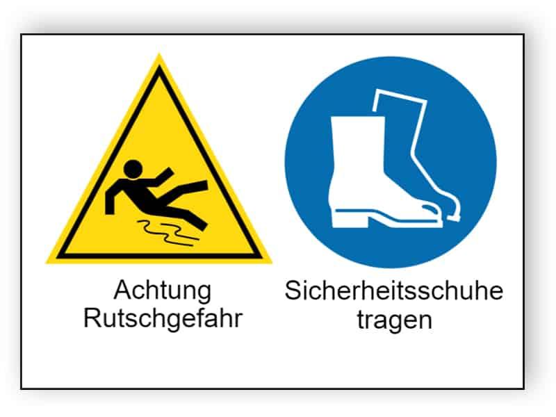 Achtung Rutschgefahr / Sicherheitsschuhe tragen