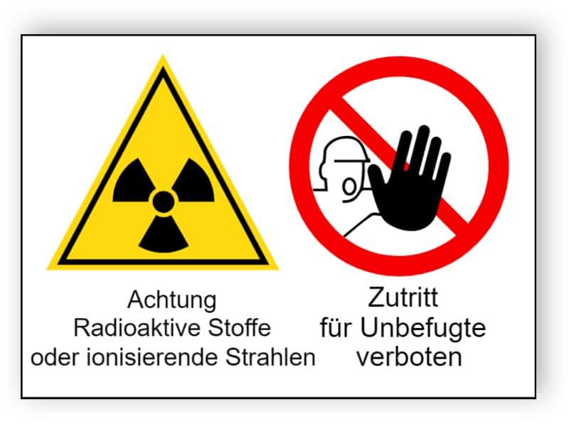 Achtung Radioaktive Stoffe oder ionisierende Strahlen