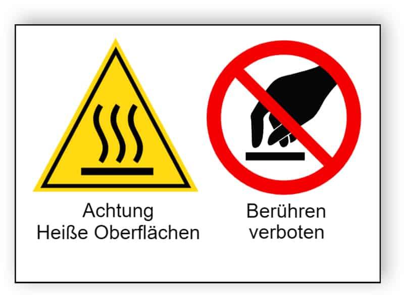 Achtung Heiße Oberflächen / Berühren verboten