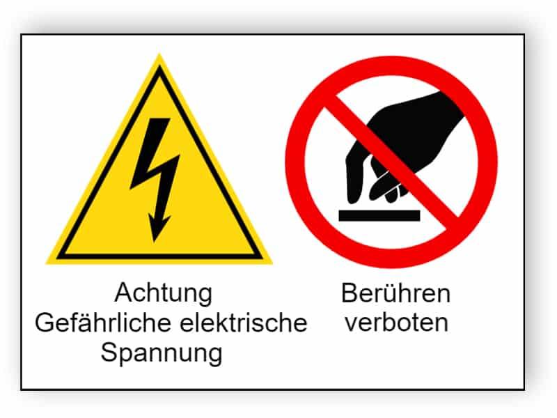 Achtung Gefährliche elektrische Spannung / Berühren verboten