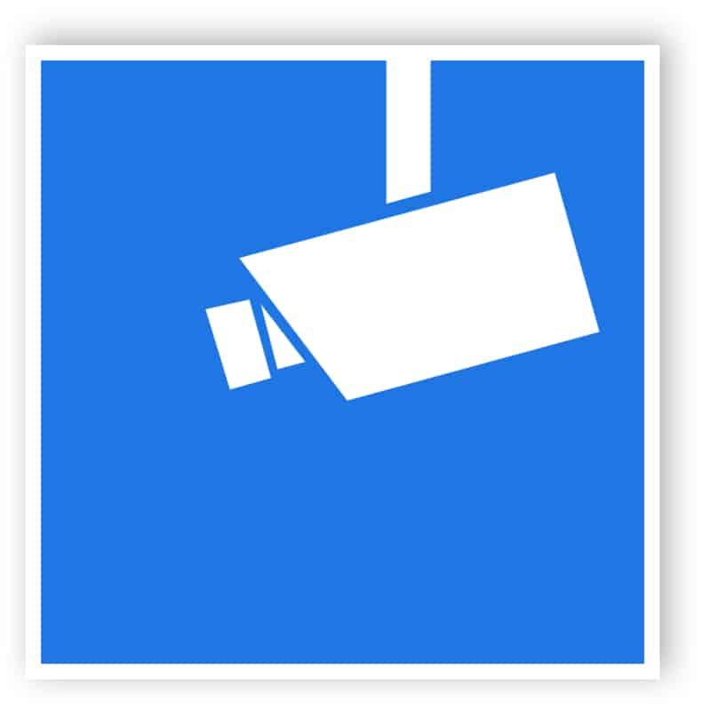Blaues Video-Infozeichen / Hinweisschild Videoüberwachung
