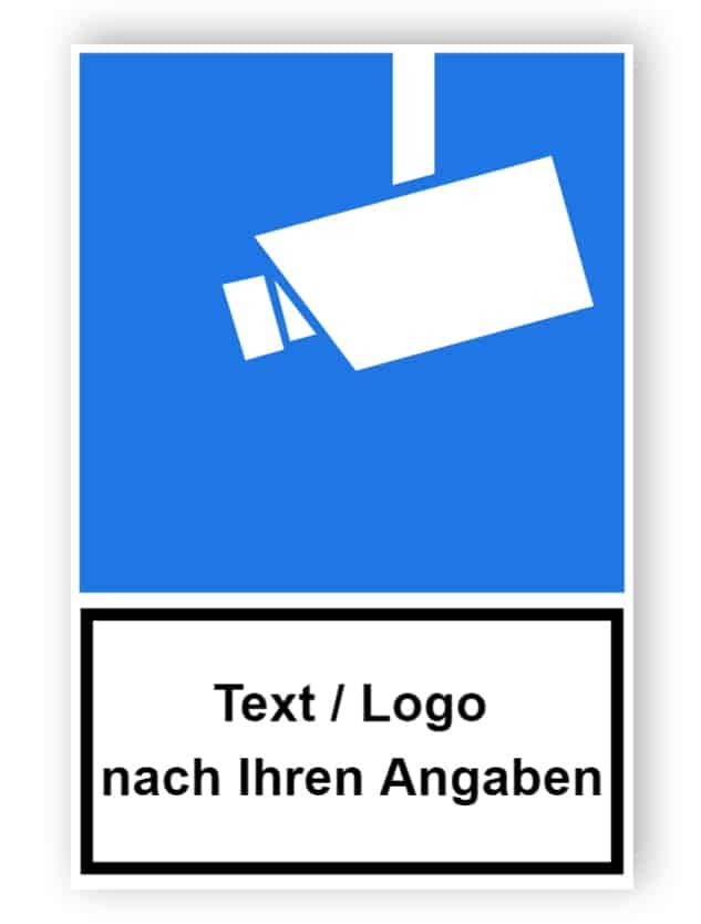 Kombischild Video-Infozeichen mit Text und/oder Logo nach Ihren Angaben