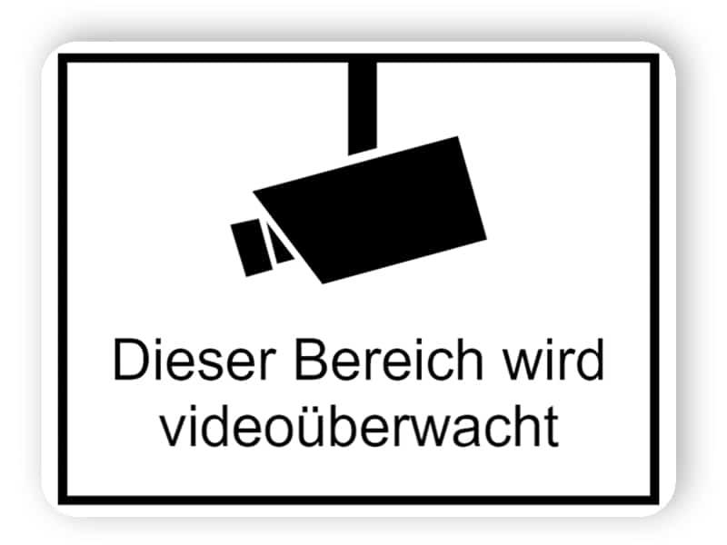 Videoüberwachungsschilder Dieser Bereich wird videoüberwacht