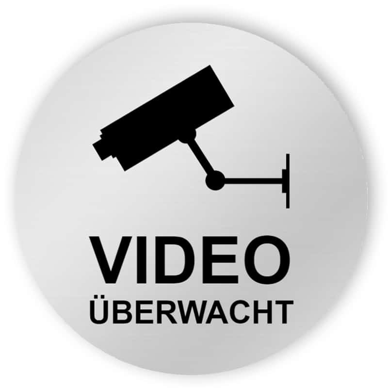 Textschild+Symbol - Videoüberwacht (rund)