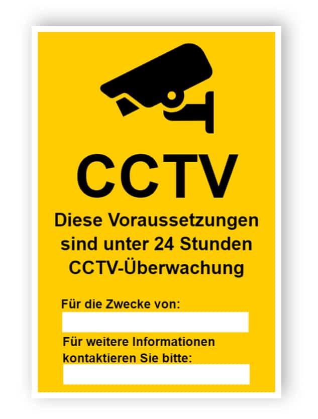 CCTV-Zeichen mit zwei leeren Textfeldern