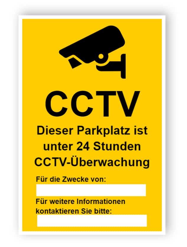 CCTV Zeichen für Parkplatz, mit zwei Textfelder