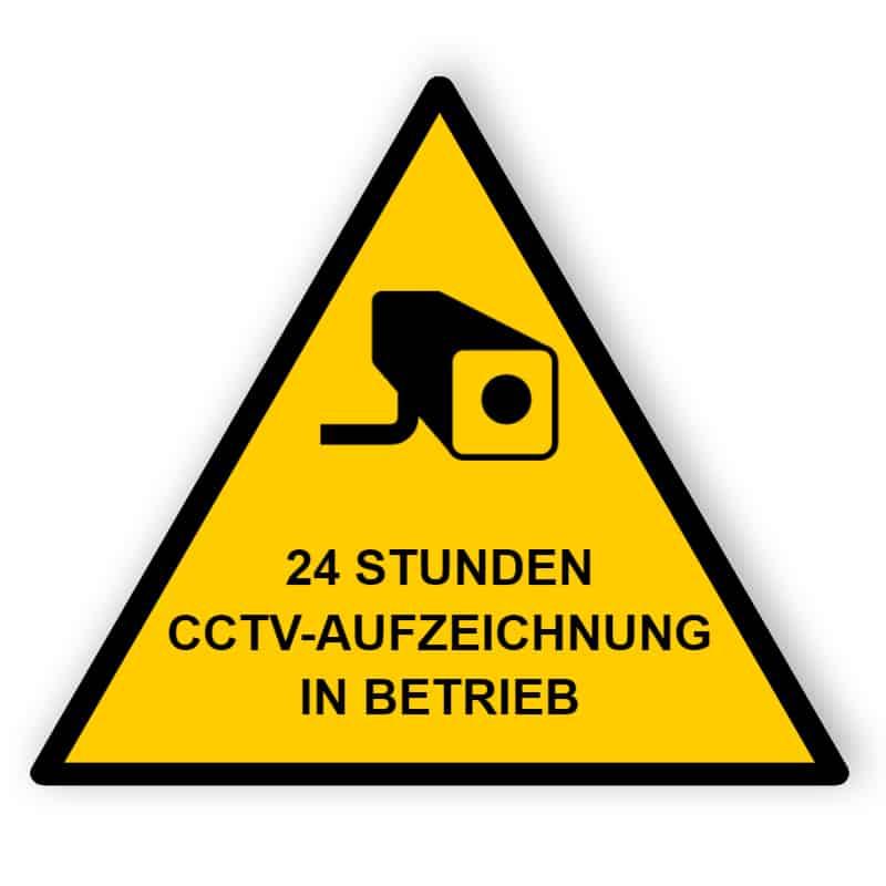 CCTV Schild 24 Stunden Aufnahme - Dreieck
