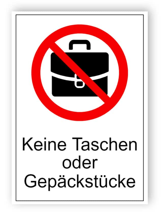 Kein Gepäck oder Gepäckschild