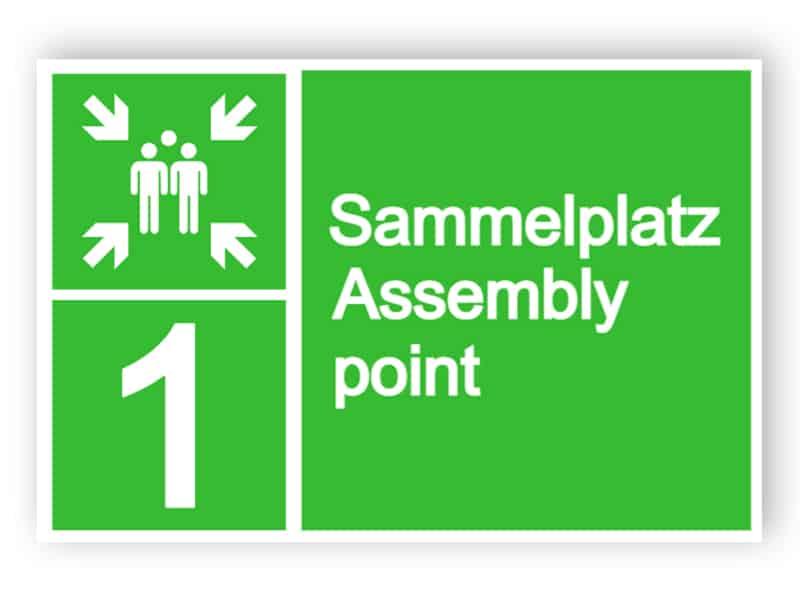 Sammelplatz Assembly point Schild