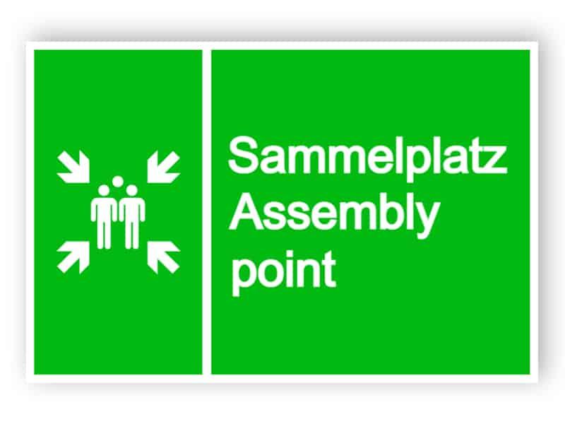 Sammelplatz Assembly point Schild 1
