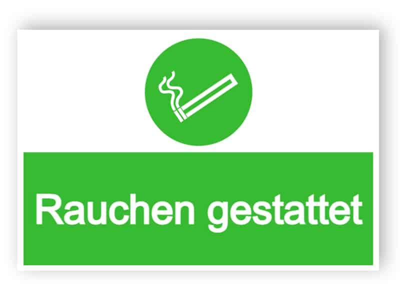 Rauchen gestattet Schild