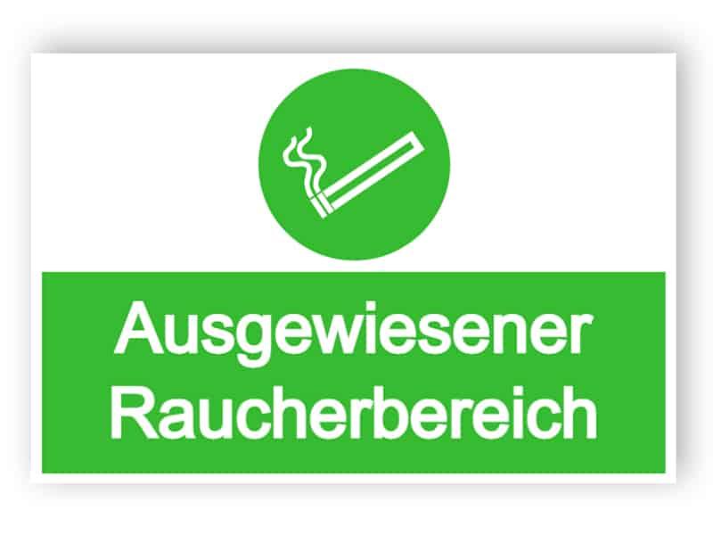 Ausgewiesener Raucherbereich Schild