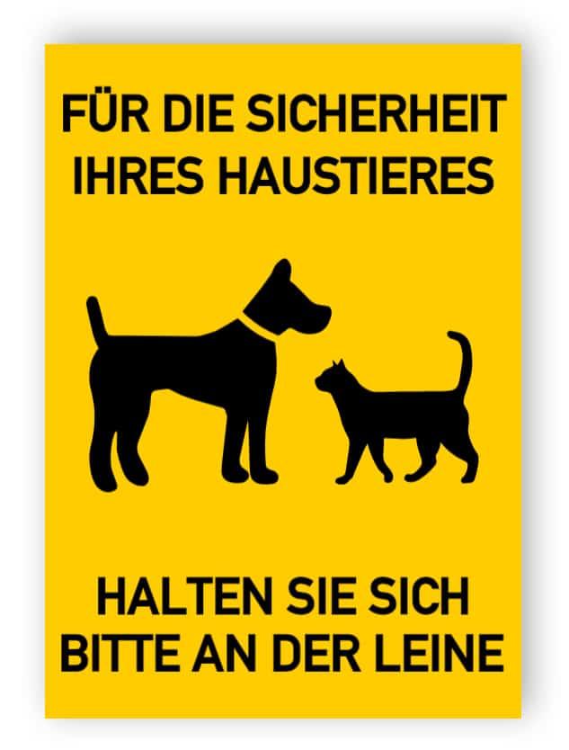 Für die Sicherheit Ihres Haustieres halten Sie sich bitte an der Leine