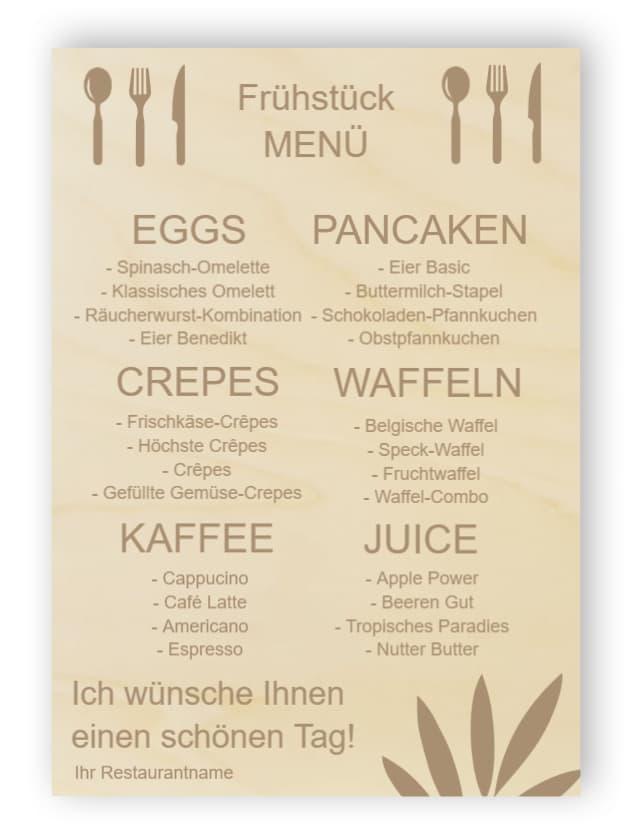 Frühstücks-Menüs